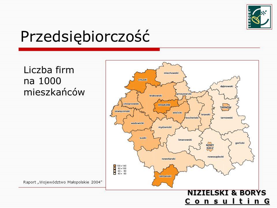 Przedsiębiorczość Raport Województwo Małopolskie 2004 Liczba firm na 1000 mieszkańców NIZIELSKI & BORYS C o n s u l t i n G