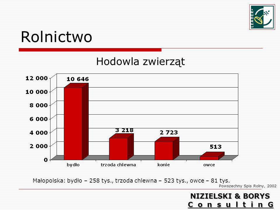 Rolnictwo Hodowla zwierząt Powszechny Spis Rolny, 2002 Małopolska: bydło – 258 tys., trzoda chlewna – 523 tys., owce – 81 tys.