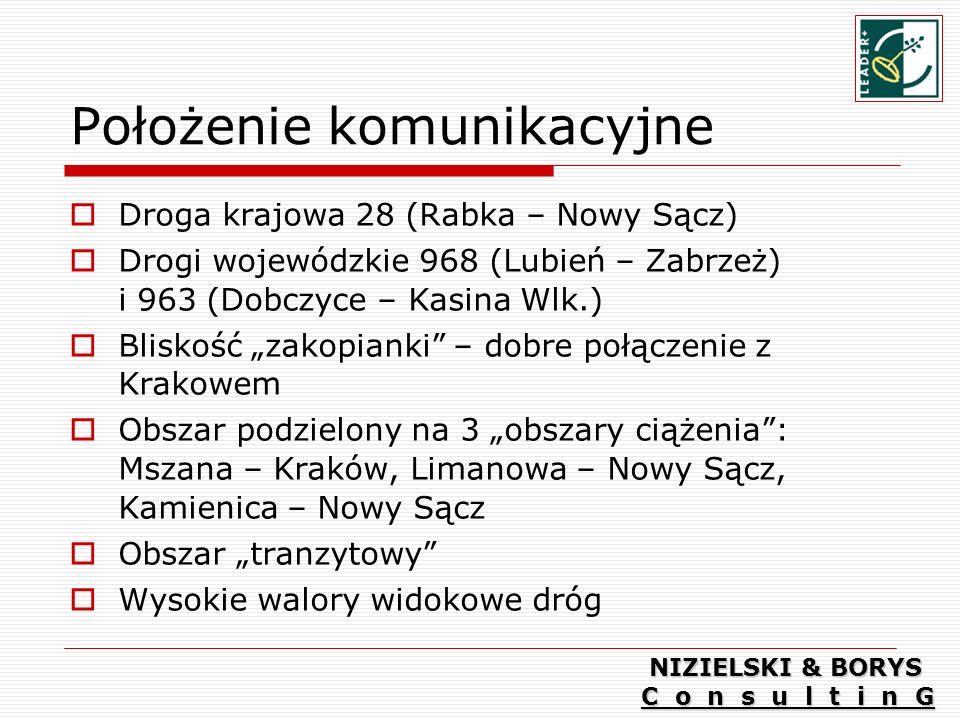 Położenie komunikacyjne Droga krajowa 28 (Rabka – Nowy Sącz) Drogi wojewódzkie 968 (Lubień – Zabrzeż) i 963 (Dobczyce – Kasina Wlk.) Bliskość zakopianki – dobre połączenie z Krakowem Obszar podzielony na 3 obszary ciążenia: Mszana – Kraków, Limanowa – Nowy Sącz, Kamienica – Nowy Sącz Obszar tranzytowy Wysokie walory widokowe dróg NIZIELSKI & BORYS C o n s u l t i n G