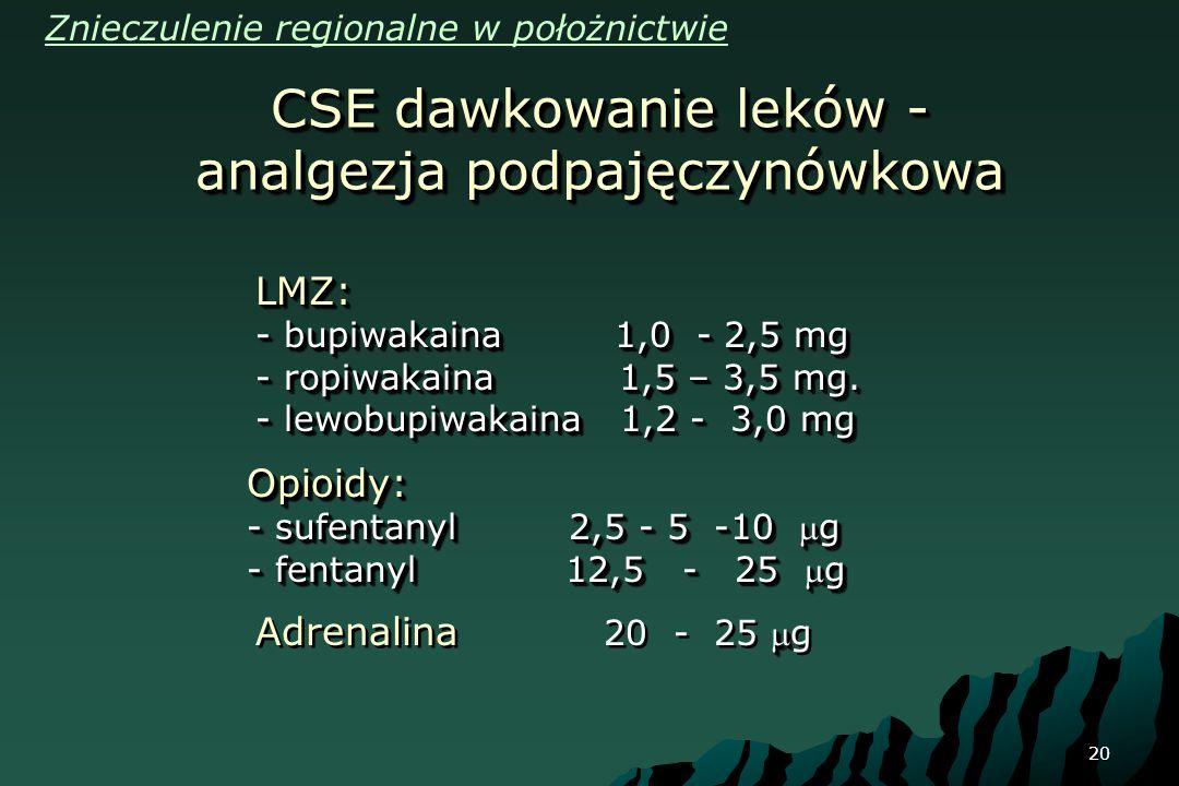 20 CSE dawkowanie leków - analgezja podpajęczynówkowa LMZ: - bupiwakaina 1,0 - 2,5 mg - ropiwakaina 1,5 – 3,5 mg. - lewobupiwakaina 1,2 - 3,0 mg LMZ: