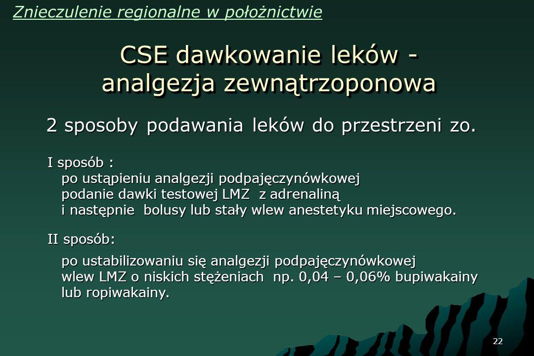 22 CSE dawkowanie leków - analgezja zewnątrzoponowa 2 sposoby podawania leków do przestrzeni zo. I sposób : po ustąpieniu analgezji podpajęczynówkowej