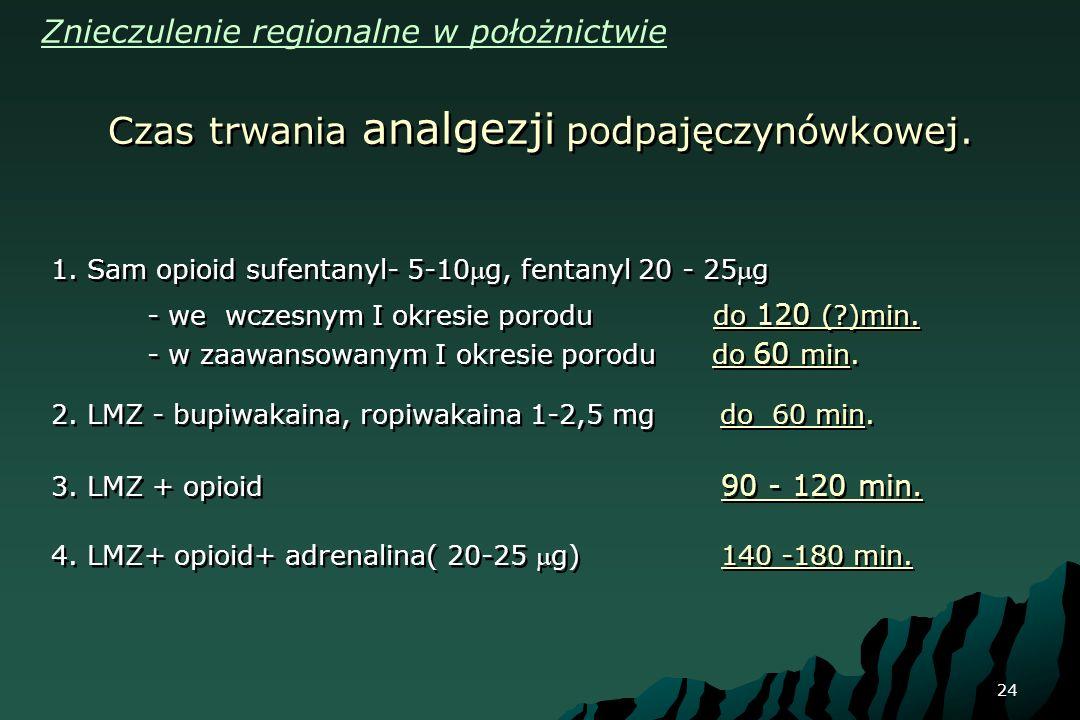 24 1. Sam opioid sufentanyl- 5-10g, fentanyl 20 - 25g - we wczesnym I okresie porodu do 120 (?)min. - w zaawansowanym I okresie porodu do 60 min. 2. L