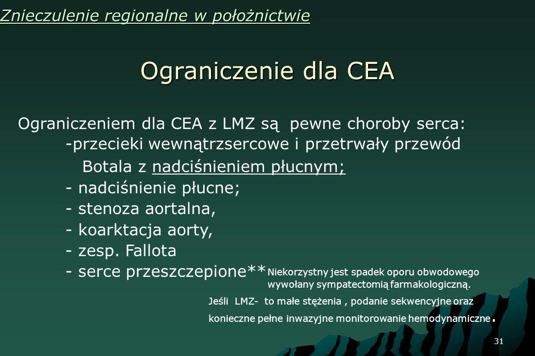 31 Ograniczenie dla CEA Znieczulenie regionalne w położnictwie Ograniczeniem dla CEA z LMZ są pewne choroby serca: -przecieki wewnątrzsercowe i przetr