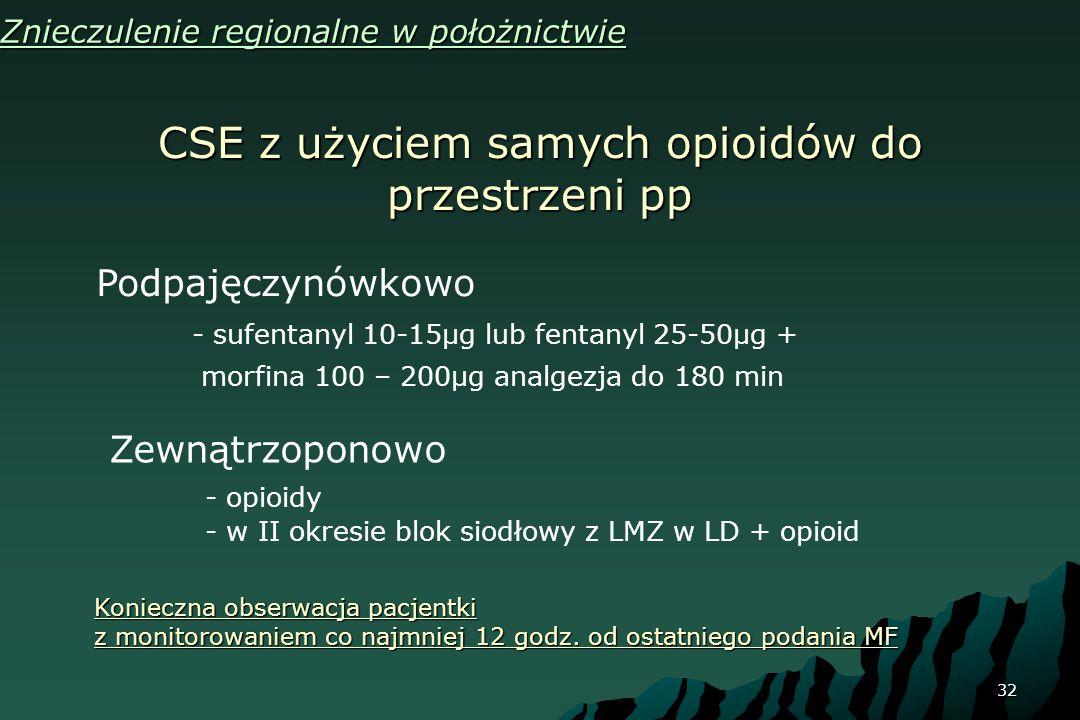 32 CSE z użyciem samych opioidów do przestrzeni pp Znieczulenie regionalne w położnictwie Podpajęczynówkowo - sufentanyl 10-15μg lub fentanyl 25-50μg