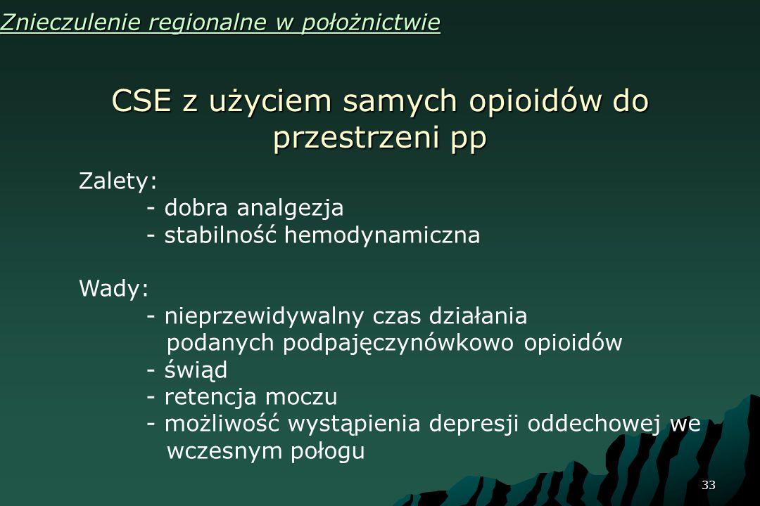 33 CSE z użyciem samych opioidów do przestrzeni pp Znieczulenie regionalne w położnictwie Zalety: - dobra analgezja - stabilność hemodynamiczna Wady: