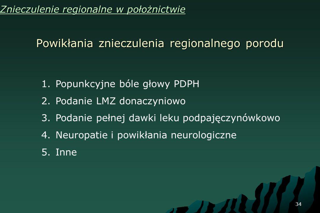 34 Powikłania znieczulenia regionalnego porodu Znieczulenie regionalne w położnictwie 1.Popunkcyjne bóle głowy PDPH 2.Podanie LMZ donaczyniowo 3.Podan