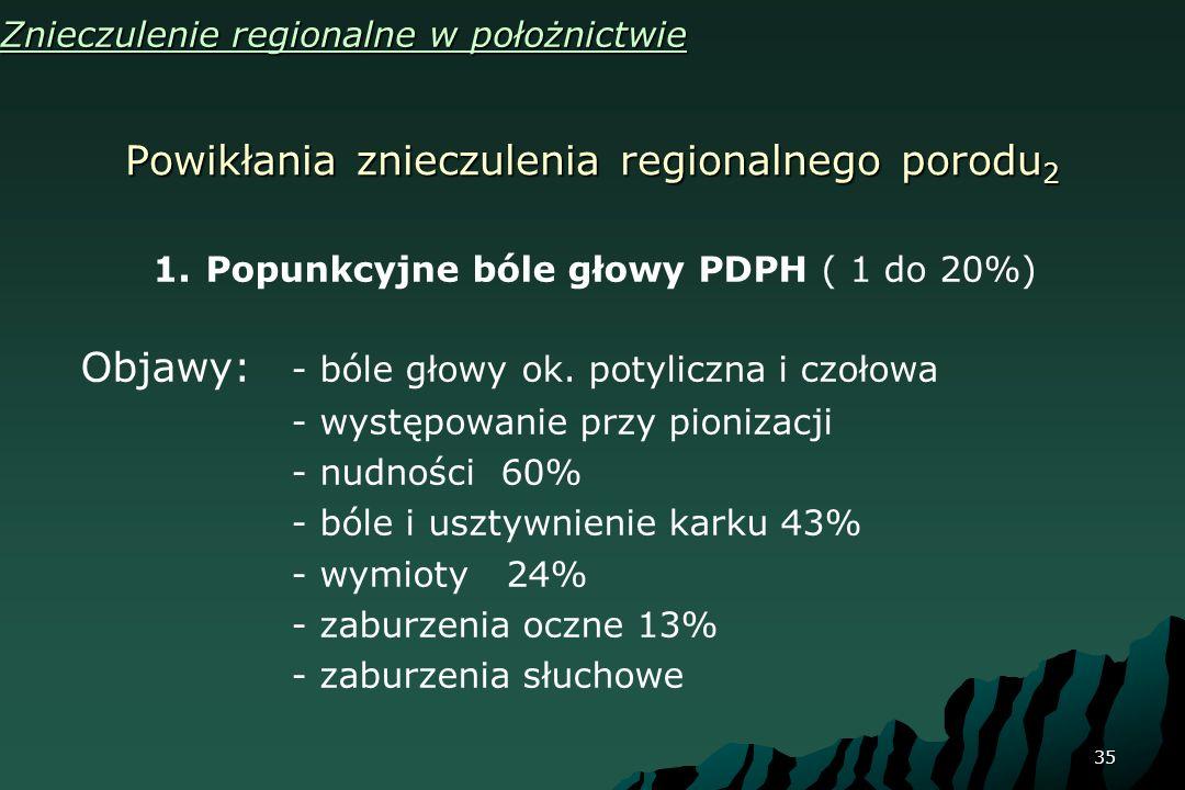 35 Powikłania znieczulenia regionalnego porodu 2 Znieczulenie regionalne w położnictwie 1.Popunkcyjne bóle głowy PDPH ( 1 do 20%) Objawy: - bóle głowy