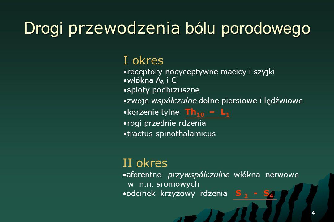 4 Drogi przewodzenia bólu porodowego I okres receptory nocyceptywne macicy i szyjki włókna A δ i C sploty podbrzuszne zwoje współczulne dolne piersiow
