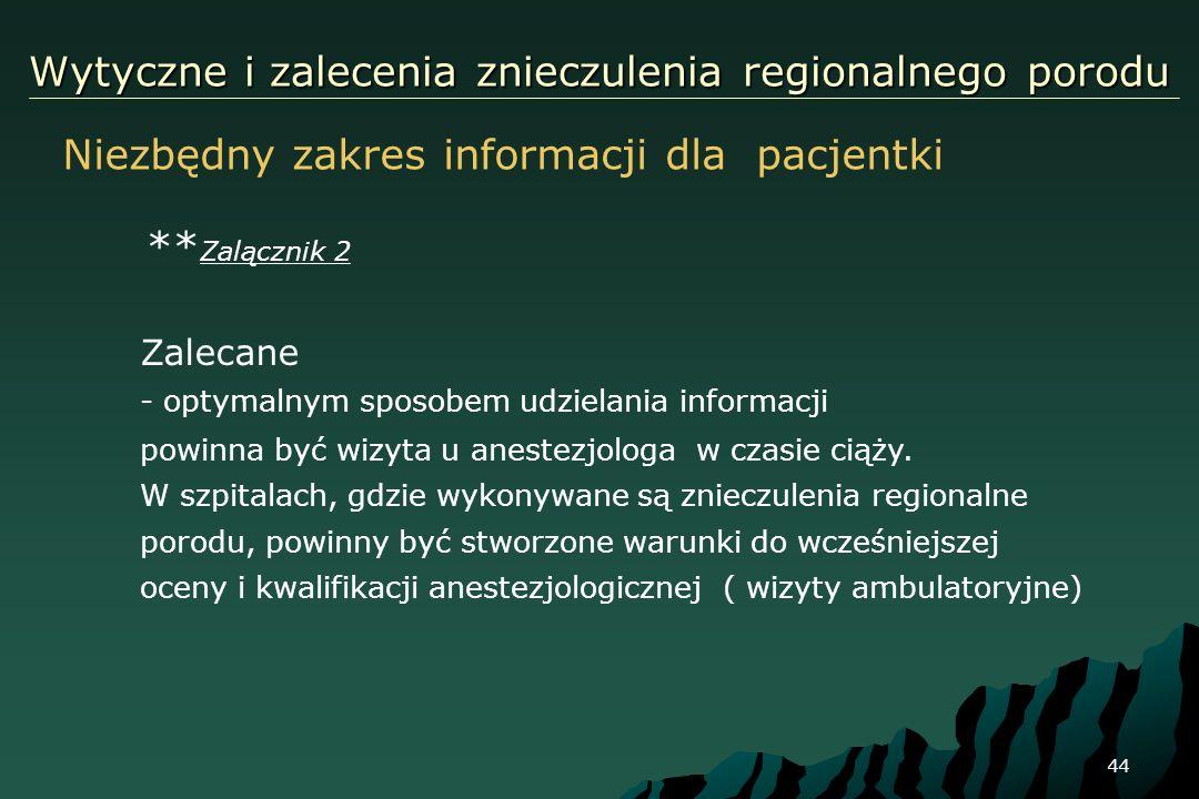 44 Wytyczne i zalecenia znieczulenia regionalnego porodu ** Zalącznik 2 Zalecane - optymalnym sposobem udzielania informacji powinna być wizyta u anes