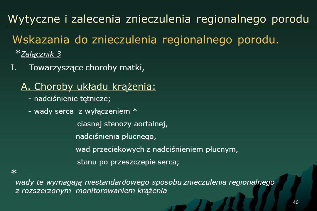 46 Wytyczne i zalecenia znieczulenia regionalnego porodu Wskazania do znieczulenia regionalnego porodu. * Zalącznik 3 I.Towarzyszące choroby matki, *