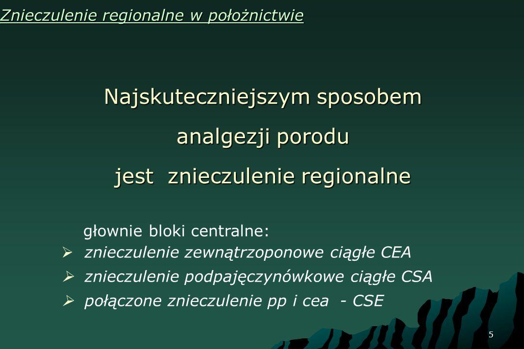 5 Znieczulenie regionalne w położnictwie Najskuteczniejszym sposobem analgezji porodu jest znieczulenie regionalne głownie bloki centralne: znieczulen