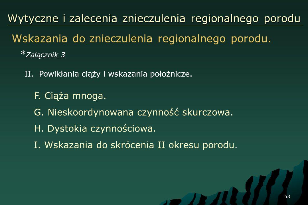 53 Wytyczne i zalecenia znieczulenia regionalnego porodu Wskazania do znieczulenia regionalnego porodu. * Zalącznik 3 F. Ciąża mnoga. G. Nieskoordynow