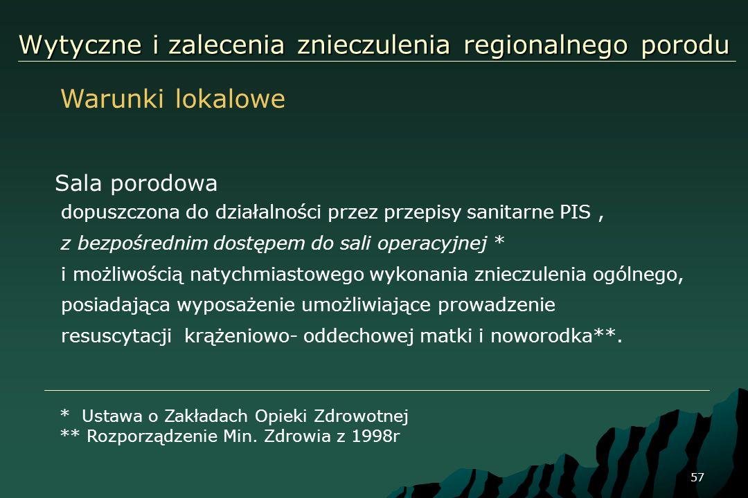 57 Wytyczne i zalecenia znieczulenia regionalnego porodu Sala porodowa dopuszczona do działalności przez przepisy sanitarne PIS, z bezpośrednim dostęp