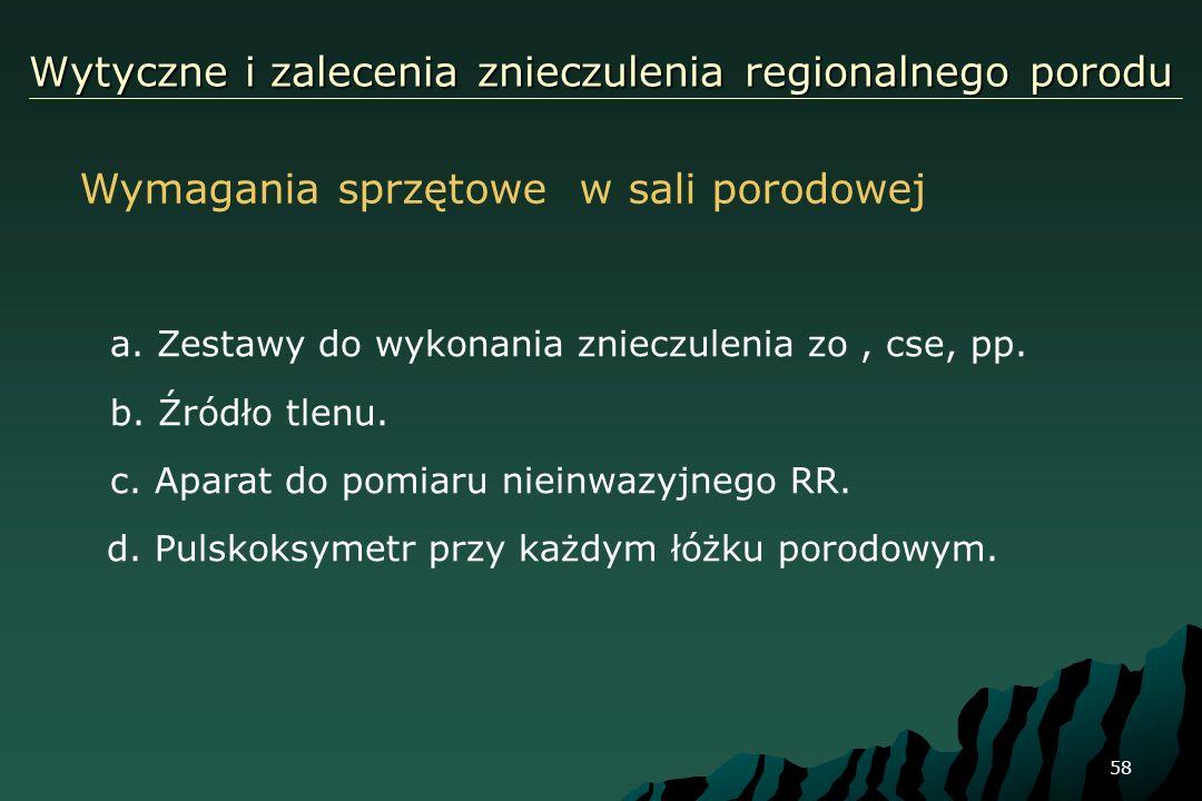 58 Wytyczne i zalecenia znieczulenia regionalnego porodu a. Zestawy do wykonania znieczulenia zo, cse, pp. b. Źródło tlenu. c. Aparat do pomiaru niein