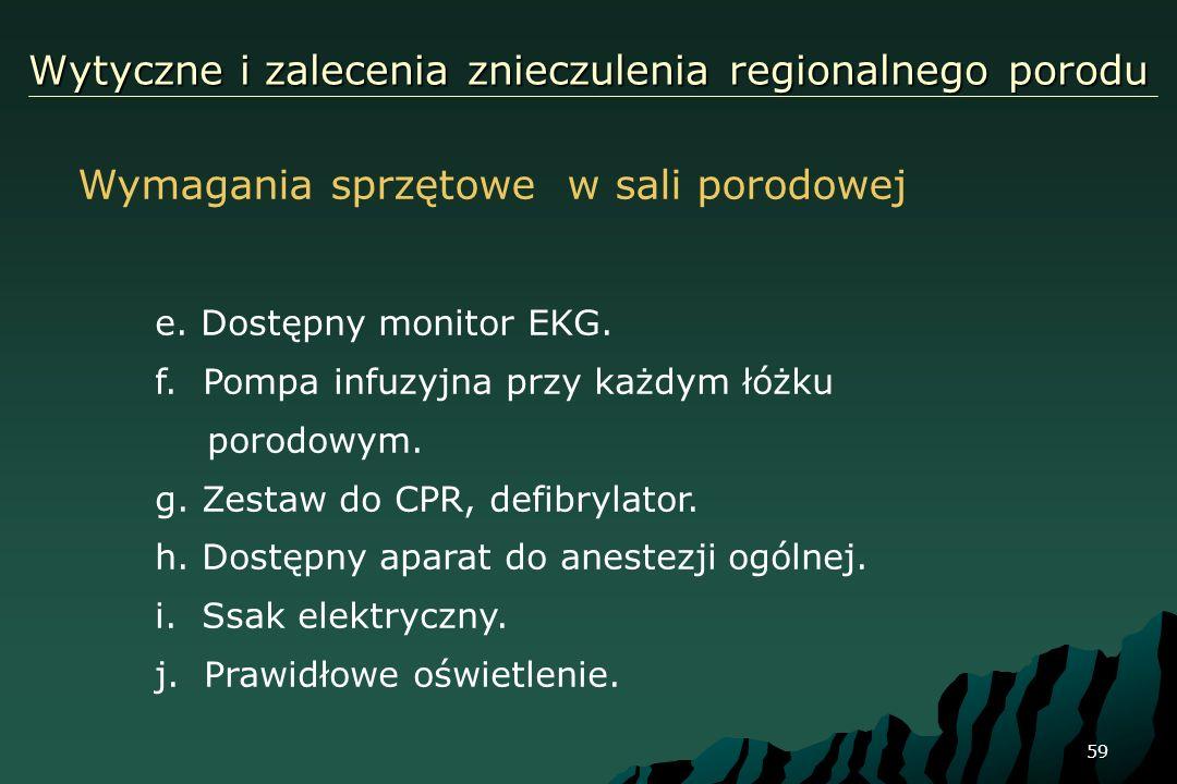 59 Wytyczne i zalecenia znieczulenia regionalnego porodu Wymagania sprzętowe w sali porodowej e. Dostępny monitor EKG. f. Pompa infuzyjna przy każdym