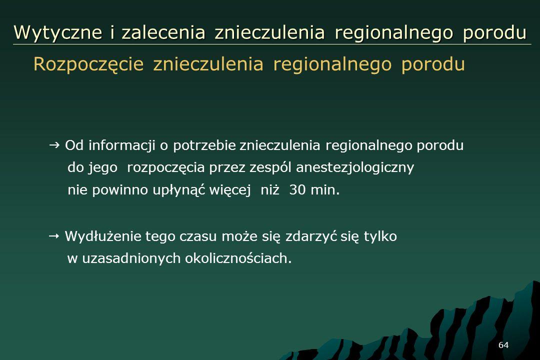 64 Wytyczne i zalecenia znieczulenia regionalnego porodu Rozpoczęcie znieczulenia regionalnego porodu Od informacji o potrzebie znieczulenia regionaln