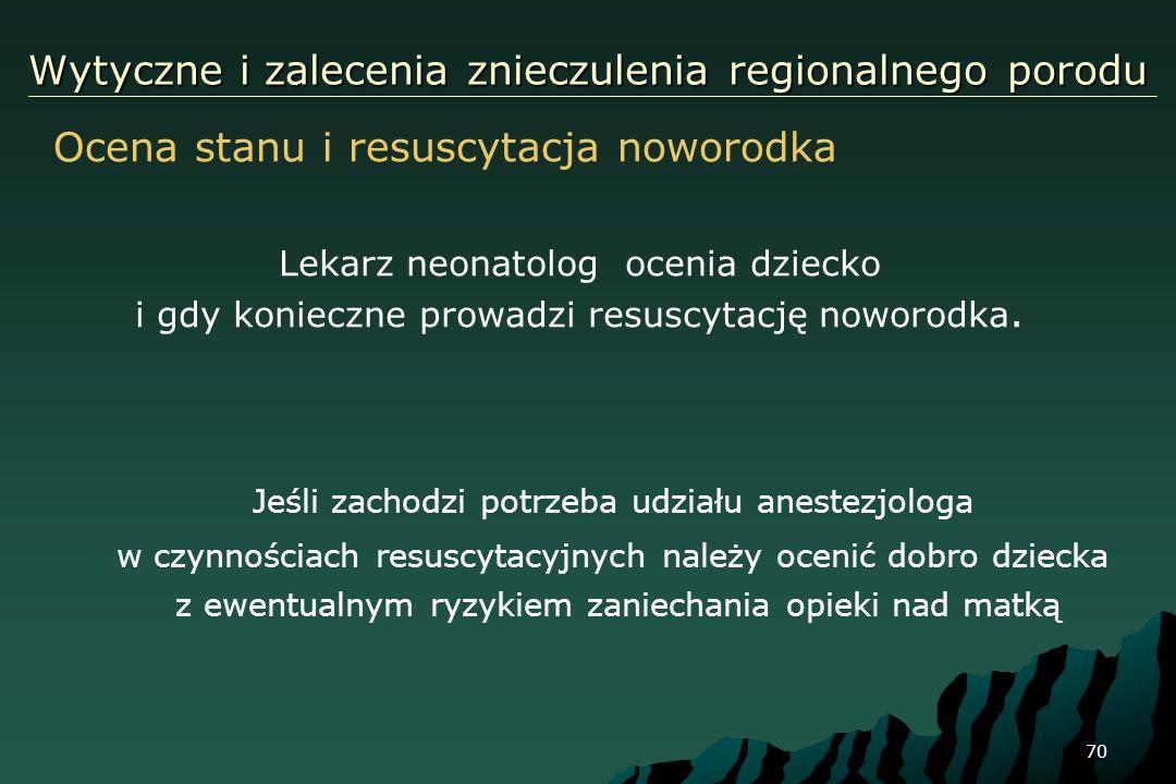 70 Wytyczne i zalecenia znieczulenia regionalnego porodu Jeśli zachodzi potrzeba udziału anestezjologa w czynnościach resuscytacyjnych należy ocenić d
