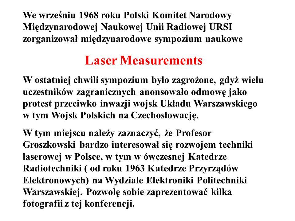 We wrześniu 1968 roku Polski Komitet Narodowy Międzynarodowej Naukowej Unii Radiowej URSI zorganizował międzynarodowe sympozium naukowe Laser Measurem