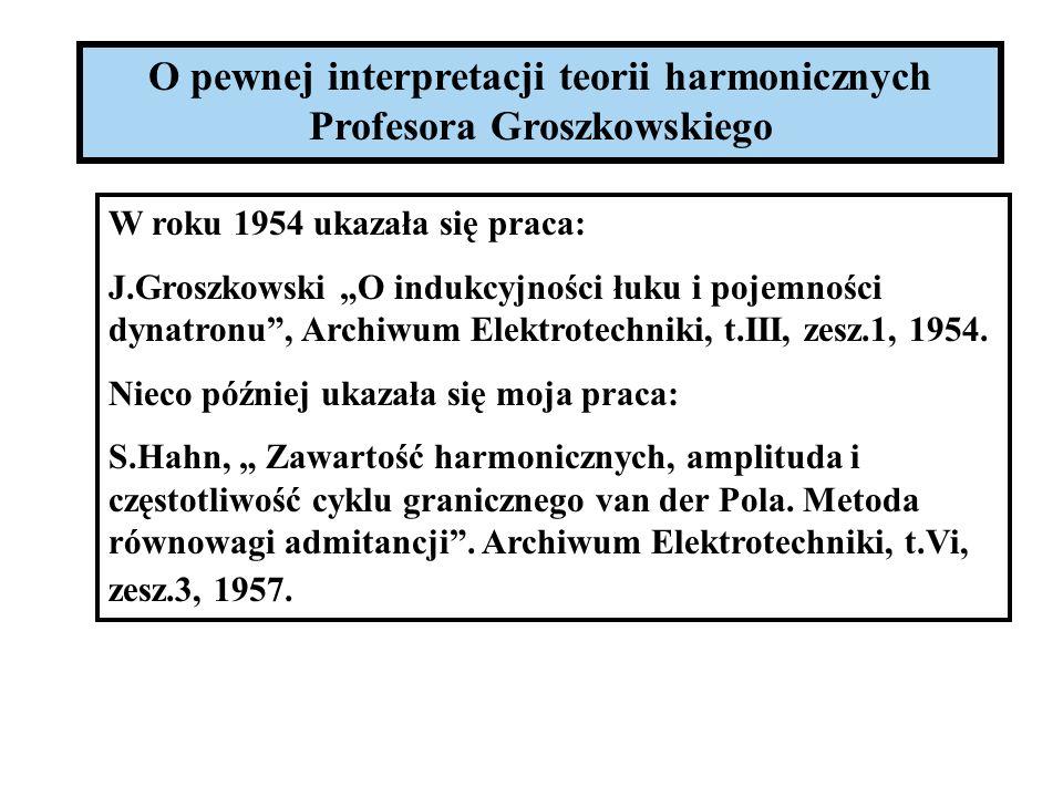 O pewnej interpretacji teorii harmonicznych Profesora Groszkowskiego W roku 1954 ukazała się praca: J.Groszkowski O indukcyjności łuku i pojemności dy