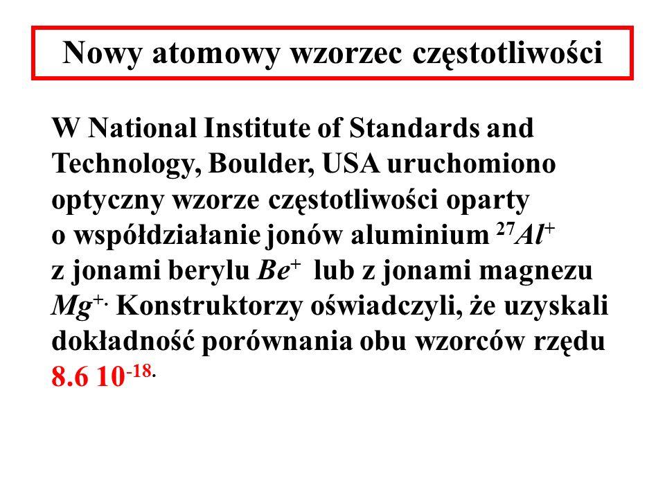 Nowy atomowy wzorzec częstotliwości W National Institute of Standards and Technology, Boulder, USA uruchomiono optyczny wzorze częstotliwości oparty o