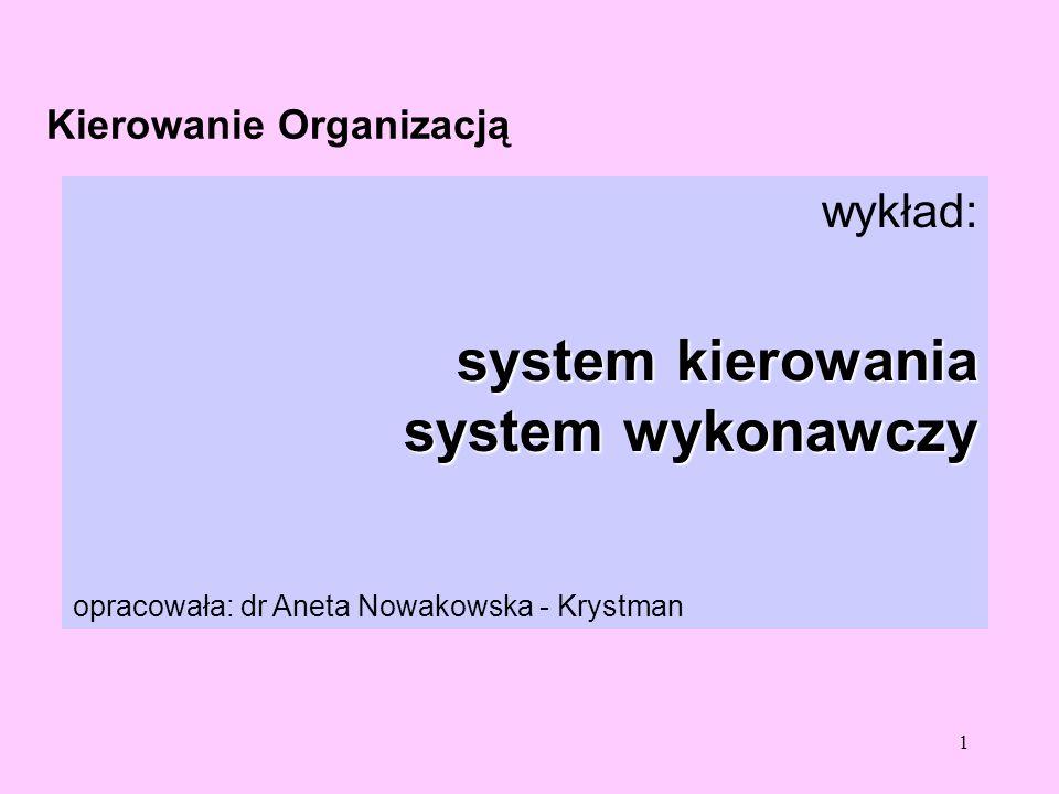 1 Kierowanie Organizacją wykład: system kierowania system wykonawczy opracowała: dr Aneta Nowakowska - Krystman