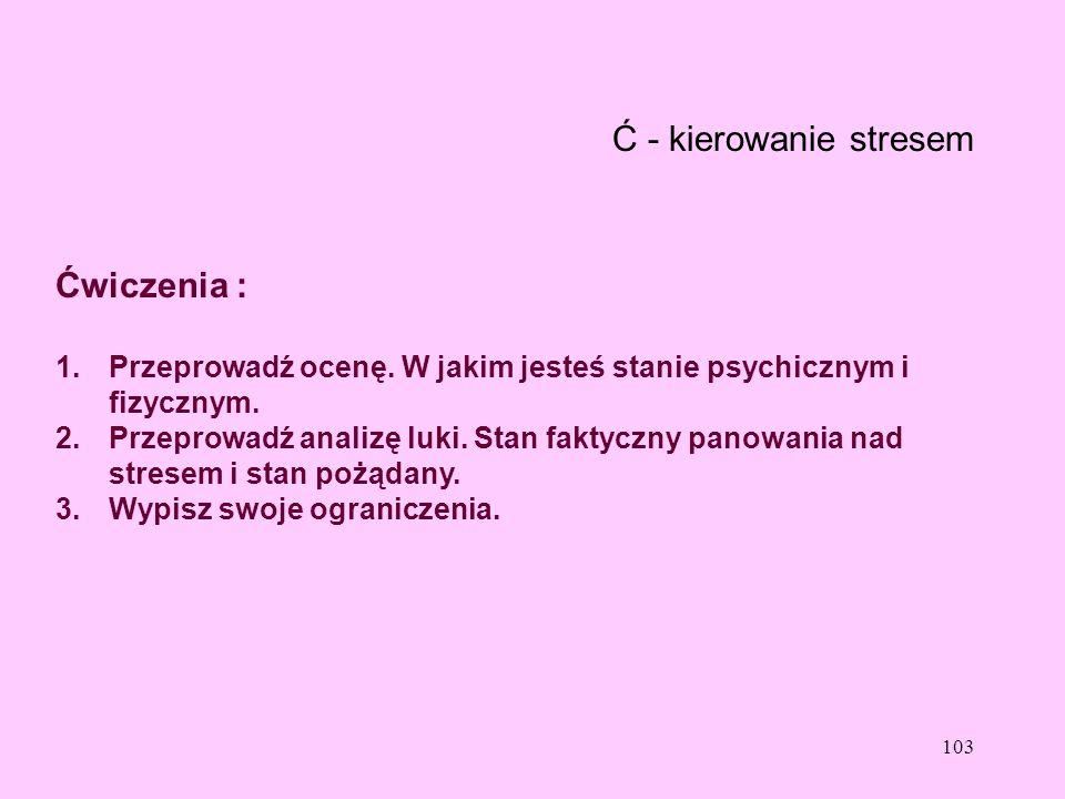 103 Ć - kierowanie stresem Ćwiczenia : 1.Przeprowadź ocenę. W jakim jesteś stanie psychicznym i fizycznym. 2.Przeprowadź analizę luki. Stan faktyczny