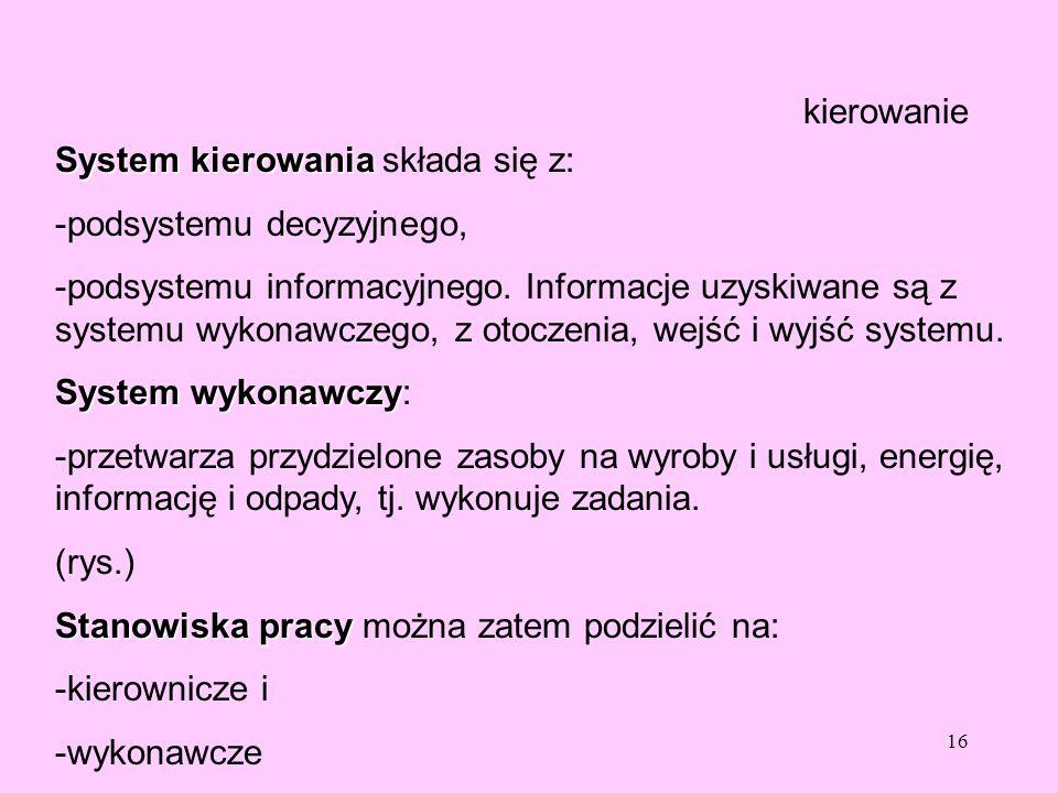 16 kierowanie System kierowania System kierowania składa się z: -podsystemu decyzyjnego, -podsystemu informacyjnego. Informacje uzyskiwane są z system