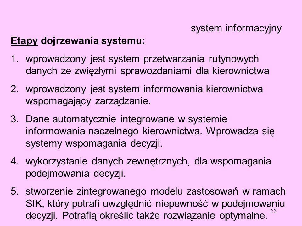 22 system informacyjny Etapy dojrzewania systemu: 1.wprowadzony jest system przetwarzania rutynowych danych ze zwięzłymi sprawozdaniami dla kierownict