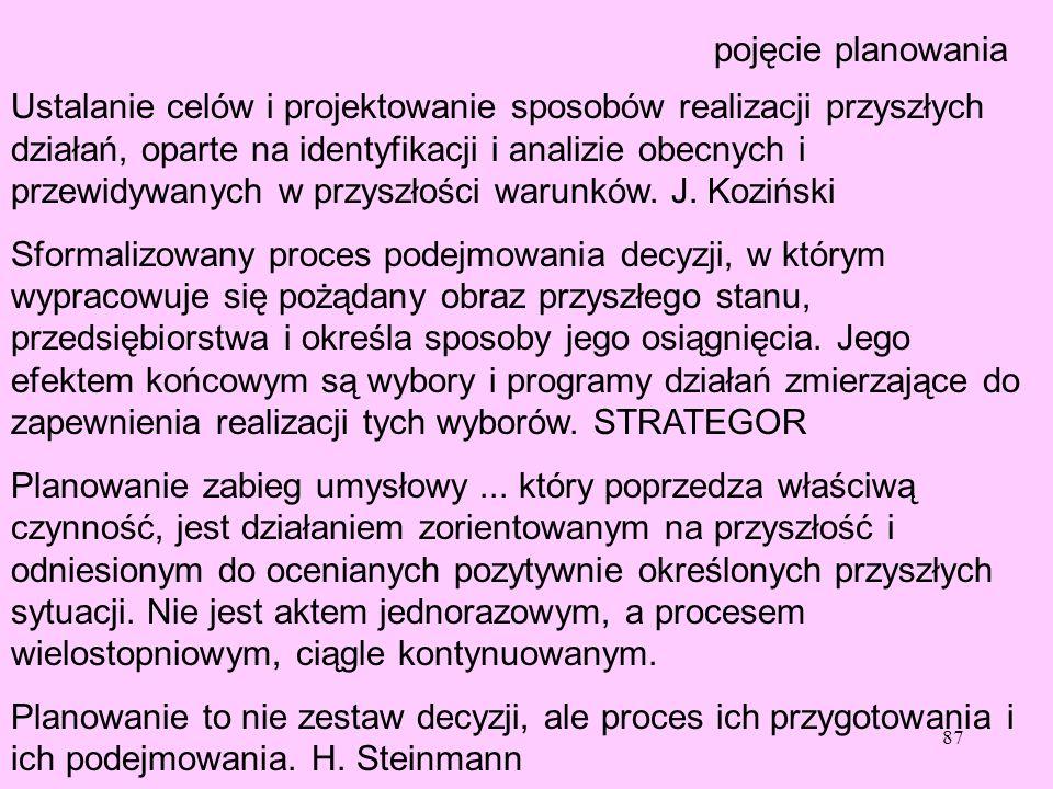 87 pojęcie planowania Ustalanie celów i projektowanie sposobów realizacji przyszłych działań, oparte na identyfikacji i analizie obecnych i przewidywa
