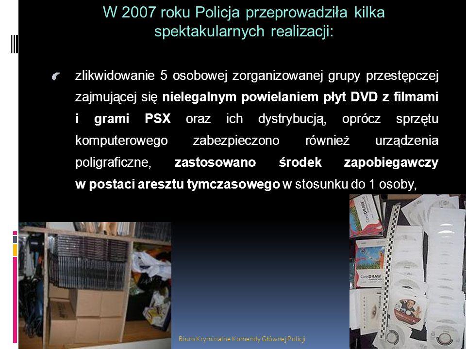 Biuro Kryminalne Komendy Głównej Policji zlikwidowanie 5 osobowej zorganizowanej grupy przestępczej zajmującej się nielegalnym powielaniem płyt DVD z