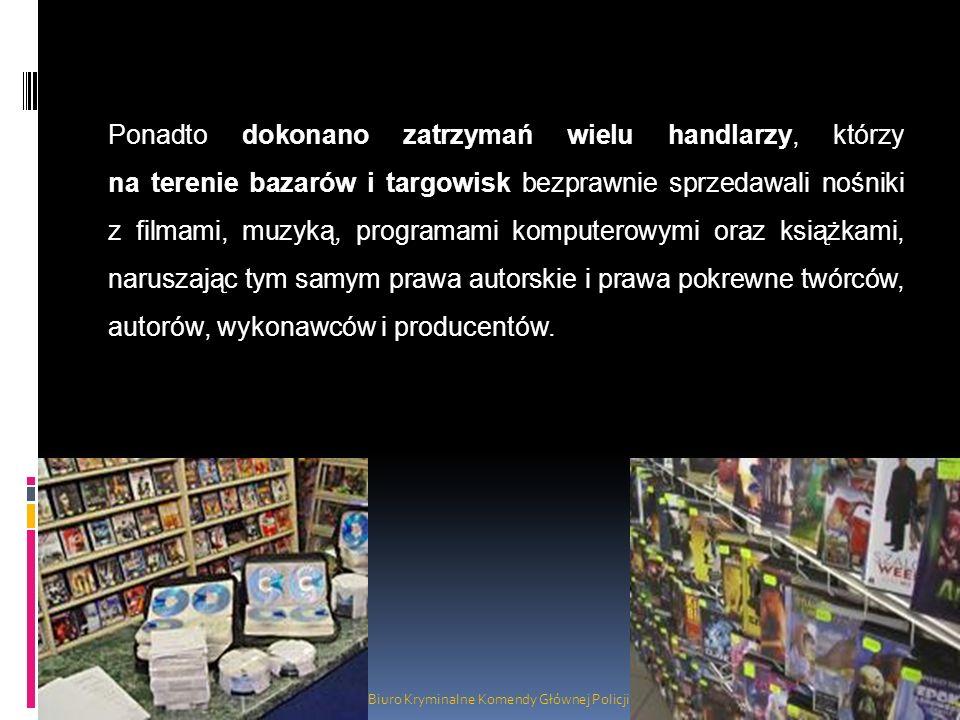 Biuro Kryminalne Komendy Głównej Policji Ponadto dokonano zatrzymań wielu handlarzy, którzy na terenie bazarów i targowisk bezprawnie sprzedawali nośn