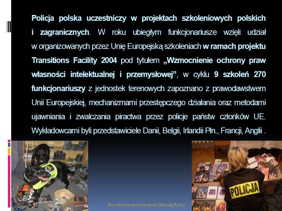 Policja polska uczestniczy w projektach szkoleniowych polskich i zagranicznych. W roku ubiegłym funkcjonariusze wzięli udział w organizowanych przez U