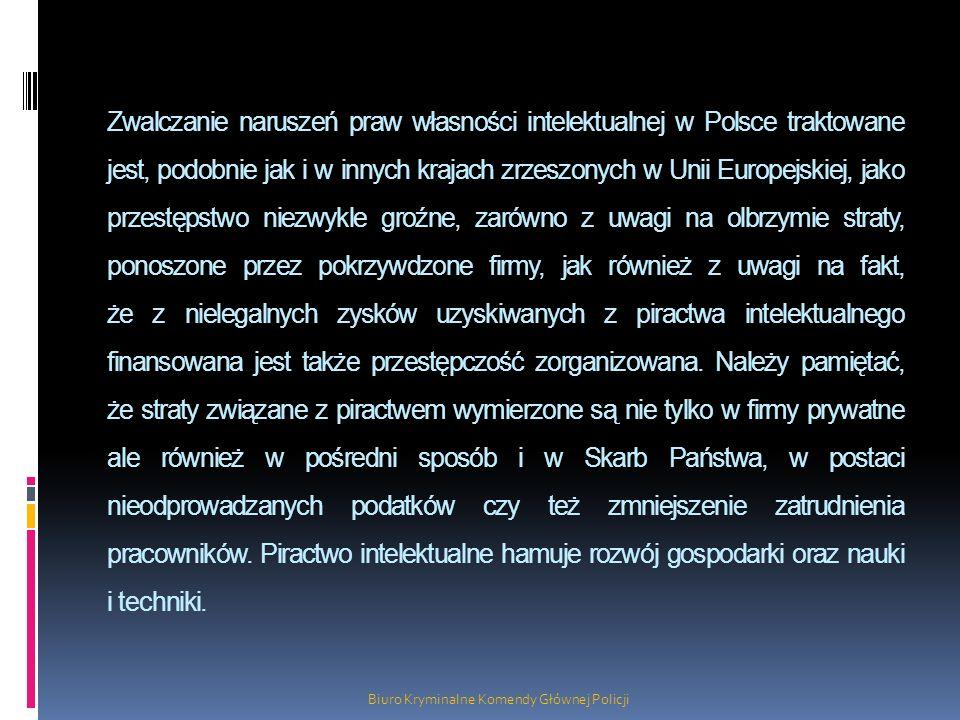 Zwalczanie naruszeń praw własności intelektualnej w Polsce traktowane jest, podobnie jak i w innych krajach zrzeszonych w Unii Europejskiej, jako prze