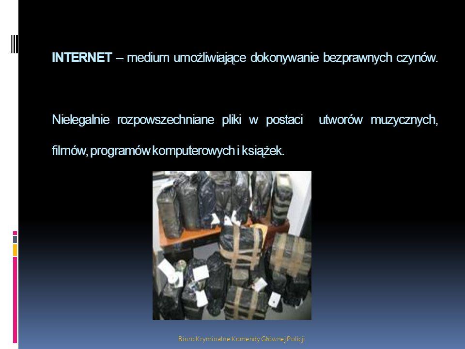 INTERNET – medium umożliwiające dokonywanie bezprawnych czynów. Nielegalnie rozpowszechniane pliki w postaci utworów muzycznych, filmów, programów kom