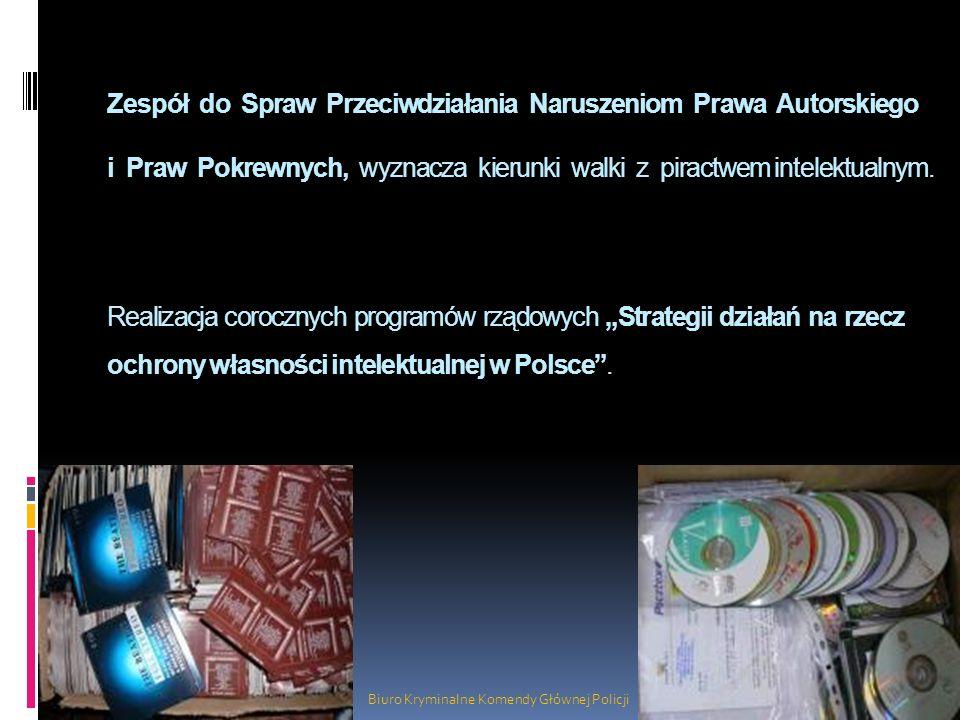 Realizacja corocznych programów rządowych Strategii działań na rzecz ochrony własności intelektualnej w Polsce. Biuro Kryminalne Komendy Głównej Polic