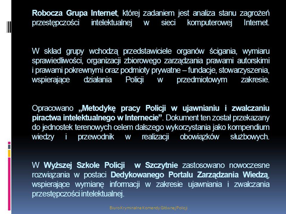 Robocza Grupa Internet, której zadaniem jest analiza stanu zagrożeń przestępczości intelektualnej w sieci komputerowej Internet. W skład grupy wchodzą
