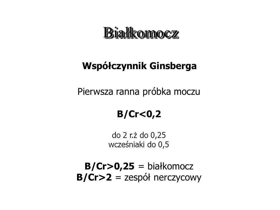 BiałkomoczBiałkomocz Współczynnik Ginsberga Pierwsza ranna próbka moczu B/Cr<0,2 do 2 r.ż do 0,25 wcześniaki do 0,5 B/Cr>0,25 = białkomocz B/Cr>2 = ze