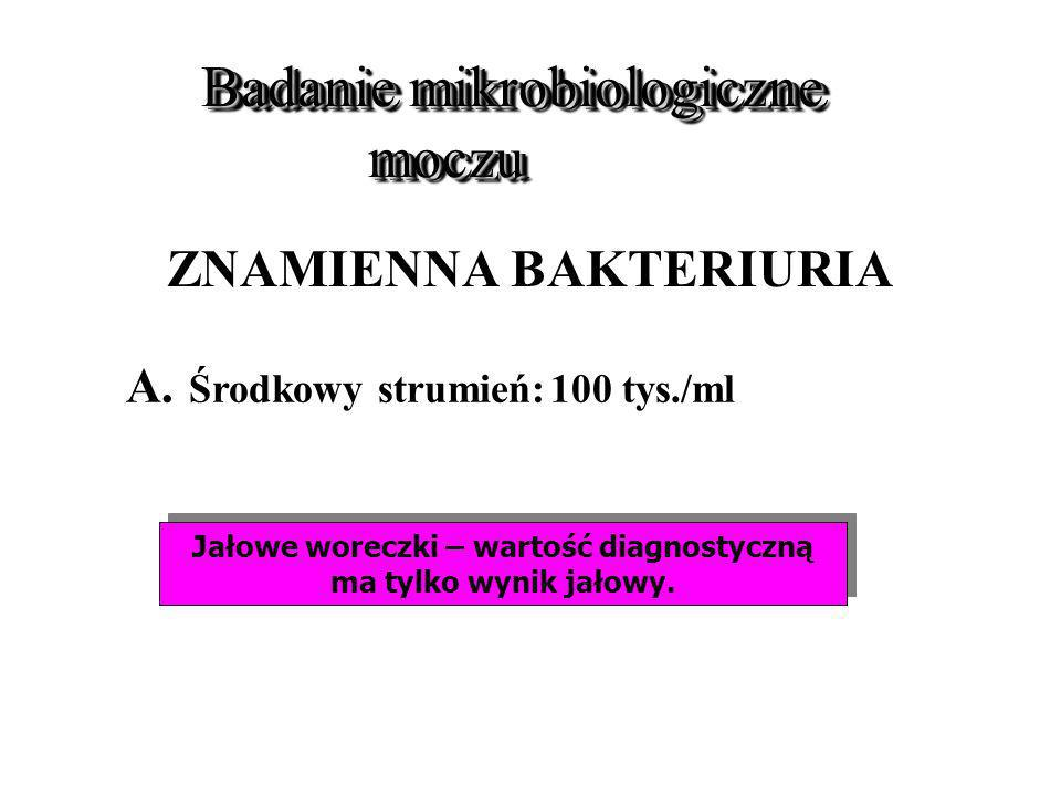 Badanie mikrobiologiczne moczu Badanie mikrobiologiczne moczu ZNAMIENNA BAKTERIURIA A. Środkowy strumień:100 tys./ml Jałowe woreczki – wartość diagnos