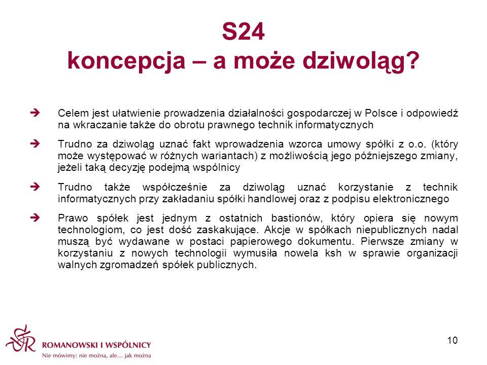 S24 koncepcja – a może dziwoląg? Celem jest ułatwienie prowadzenia działalności gospodarczej w Polsce i odpowiedź na wkraczanie także do obrotu prawne