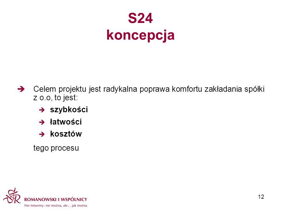 S24 koncepcja Celem projektu jest radykalna poprawa komfortu zakładania spółki z o.o, to jest: szybkości łatwości kosztów tego procesu 12