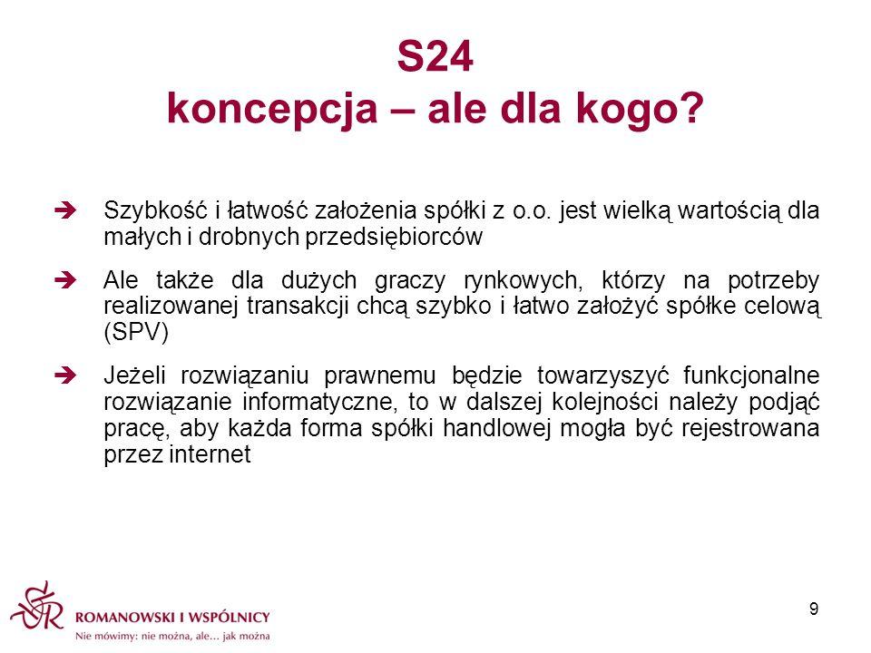S24 koncepcja – ale dla kogo? Szybkość i łatwość założenia spółki z o.o. jest wielką wartością dla małych i drobnych przedsiębiorców Ale także dla duż