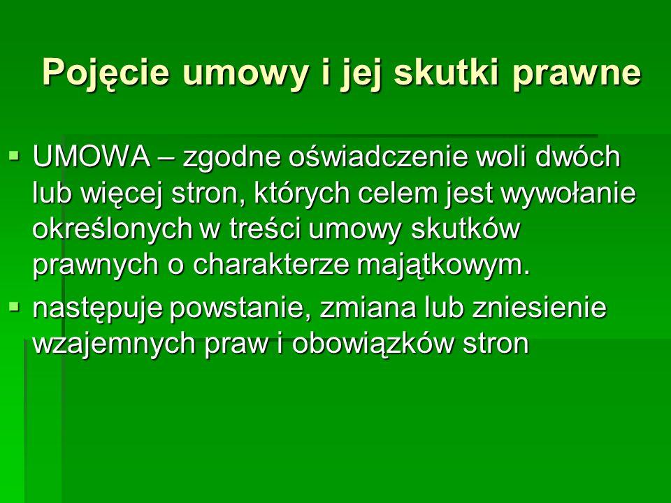 Pojęcie umowy i jej skutki prawne UMOWA – zgodne oświadczenie woli dwóch lub więcej stron, których celem jest wywołanie określonych w treści umowy sku
