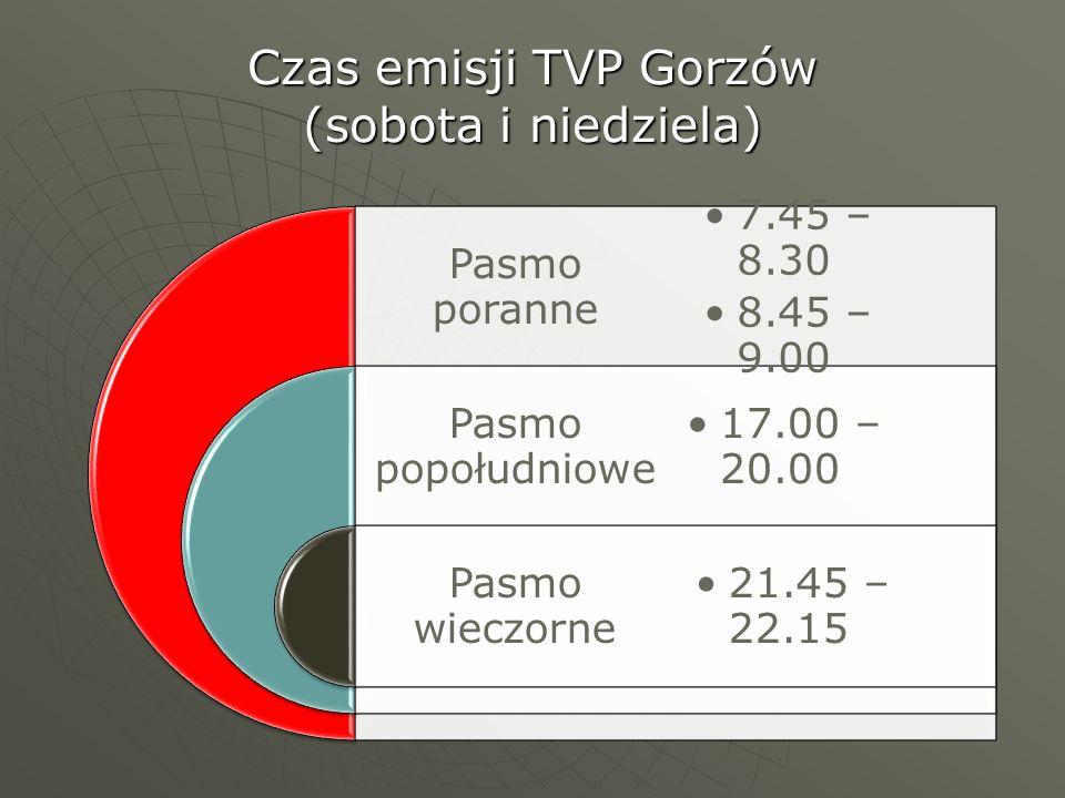 Czas emisji TVP Gorzów (sobota i niedziela) Pasmo poranne Pasmo popołudniowe Pasmo wieczorne 7.45 – 8.30 8.45 – 9.00 17.00 – 20.00 21.45 – 22.15
