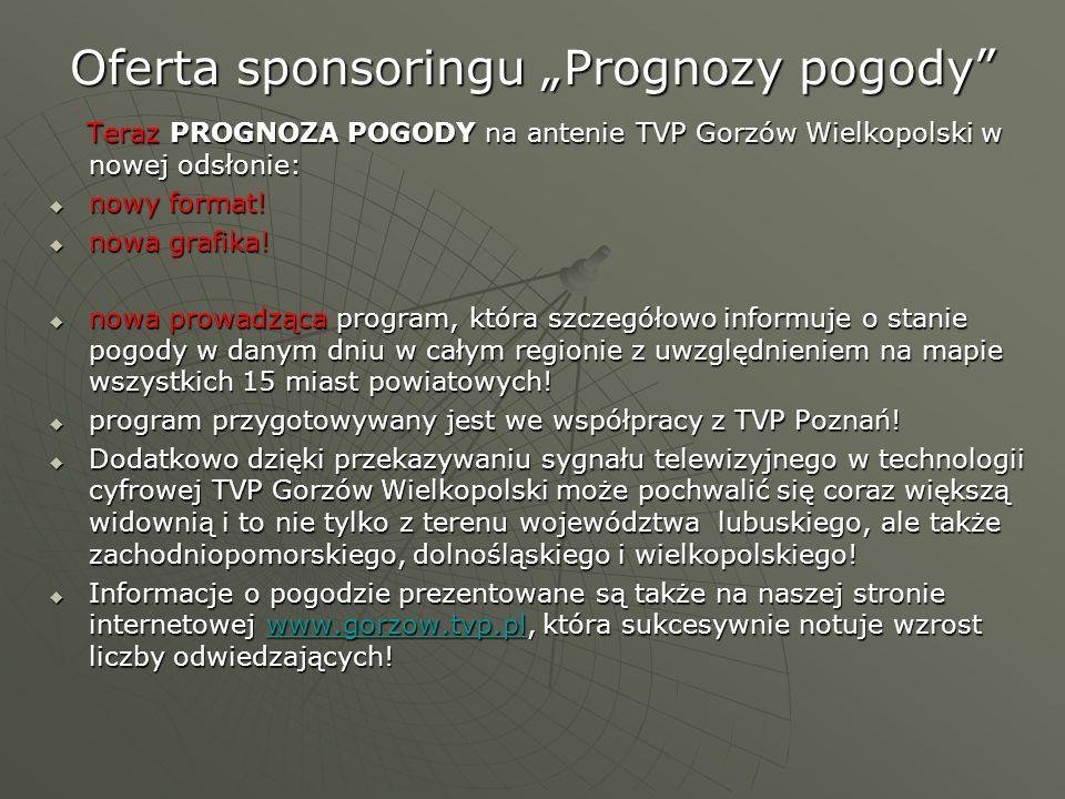 Oferta sponsoringu Prognozy pogody Teraz PROGNOZA POGODY na antenie TVP Gorzów Wielkopolski w nowej odsłonie: Teraz PROGNOZA POGODY na antenie TVP Gor