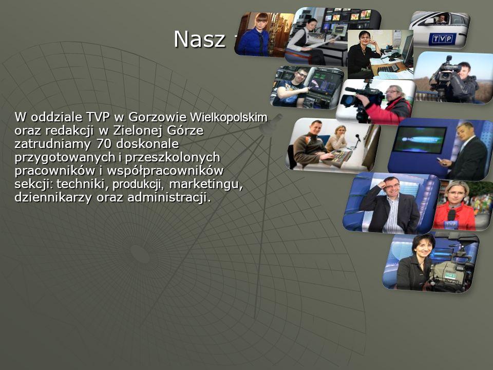 Nasz zespół… W oddziale TVP w Gorzowie Wielkopolskim oraz redakcji w Zielonej Górze zatrudniamy 70 doskonale przygotowanych i przeszkolonych pracownik