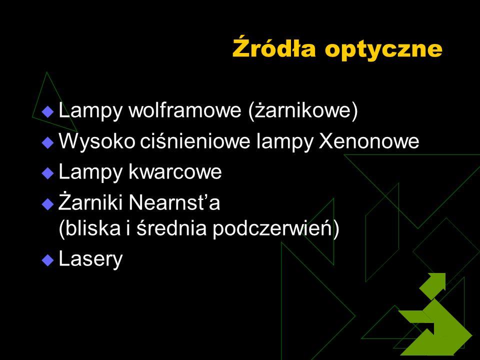 Źródła optyczne Lampy wolframowe (żarnikowe) Wysoko ciśnieniowe lampy Xenonowe Lampy kwarcowe Żarniki Nearnsta (bliska i średnia podczerwień) Lasery