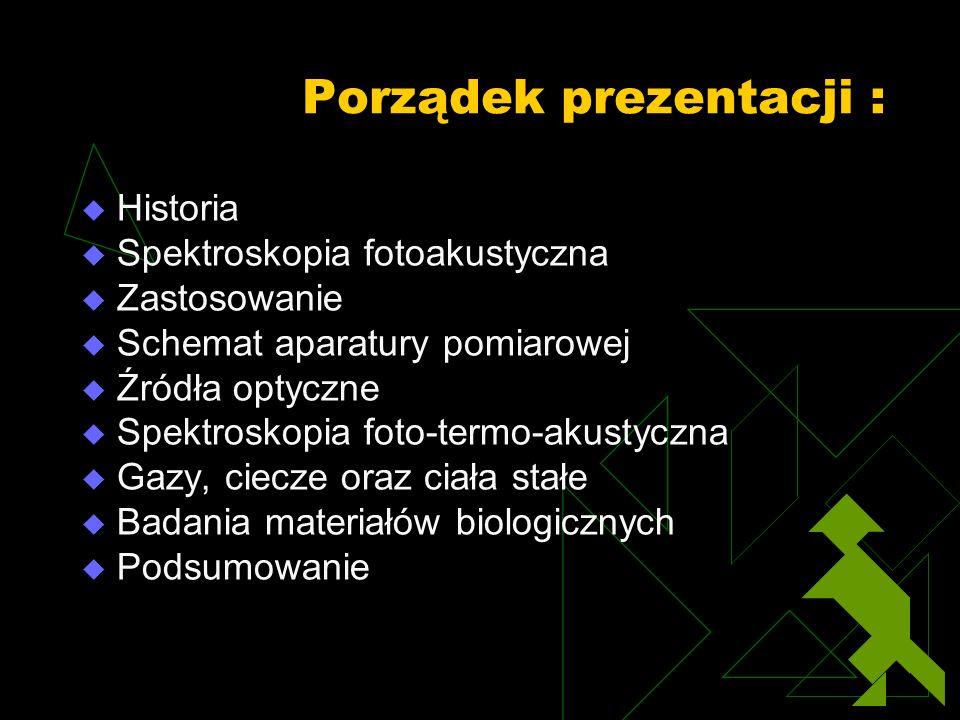 Porządek prezentacji : Historia Spektroskopia fotoakustyczna Zastosowanie Schemat aparatury pomiarowej Źródła optyczne Spektroskopia foto-termo-akusty