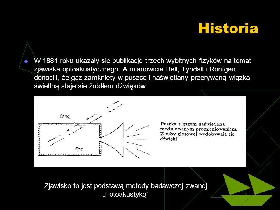 W 1881 roku ukazały się publikacje trzech wybitnych fizyków na temat zjawiska optoakustycznego. A mianowicie Bell, Tyndall i Röntgen donosili, żę gaz