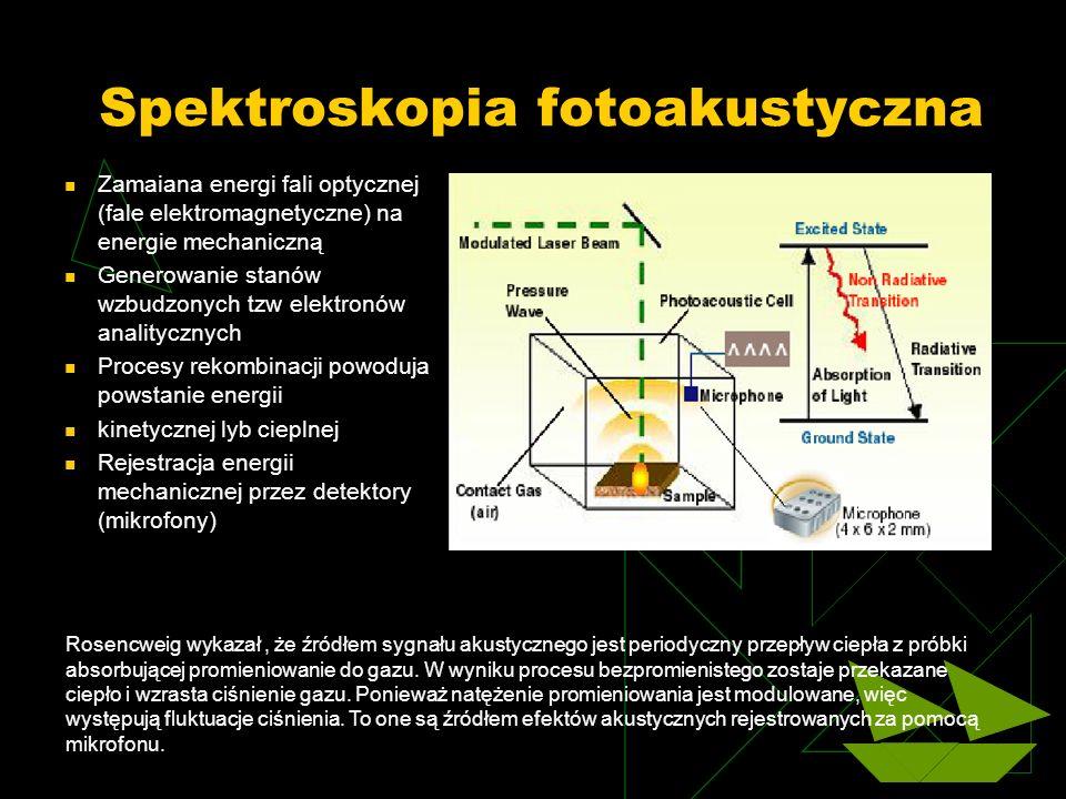 Spektroskopia fotoakustyczna Zamaiana energi fali optycznej (fale elektromagnetyczne) na energie mechaniczną Generowanie stanów wzbudzonych tzw elektr
