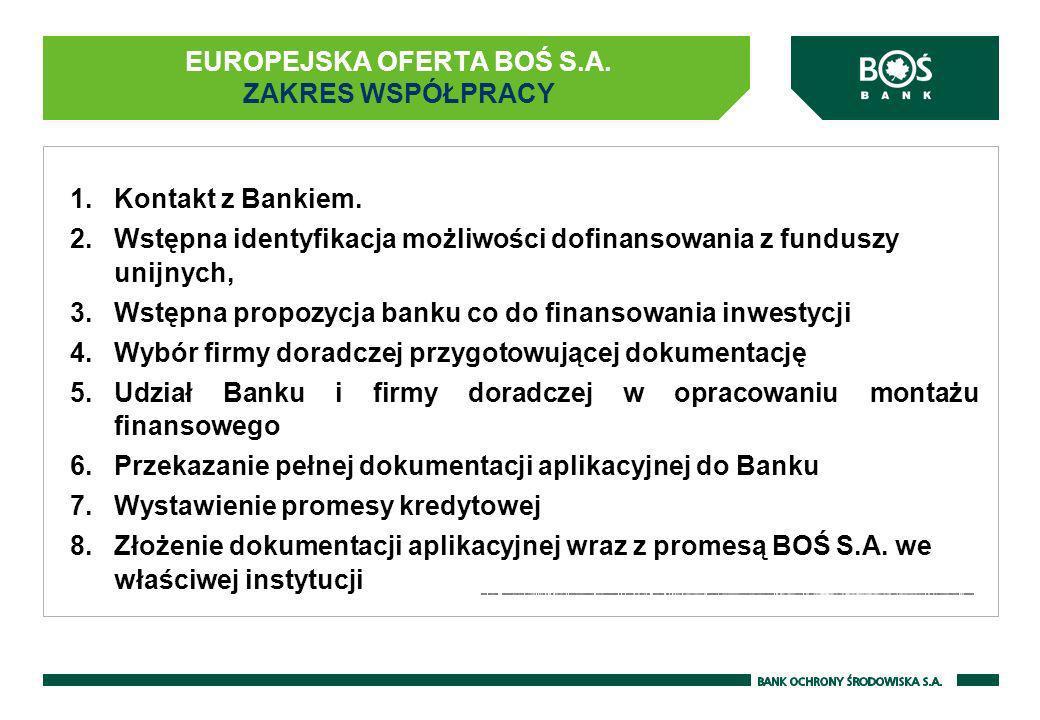 EUROPEJSKA OFERTA BOŚ S.A. ZAKRES WSPÓŁPRACY 1.Kontakt z Bankiem. 2.Wstępna identyfikacja możliwości dofinansowania z funduszy unijnych, 3.Wstępna pro